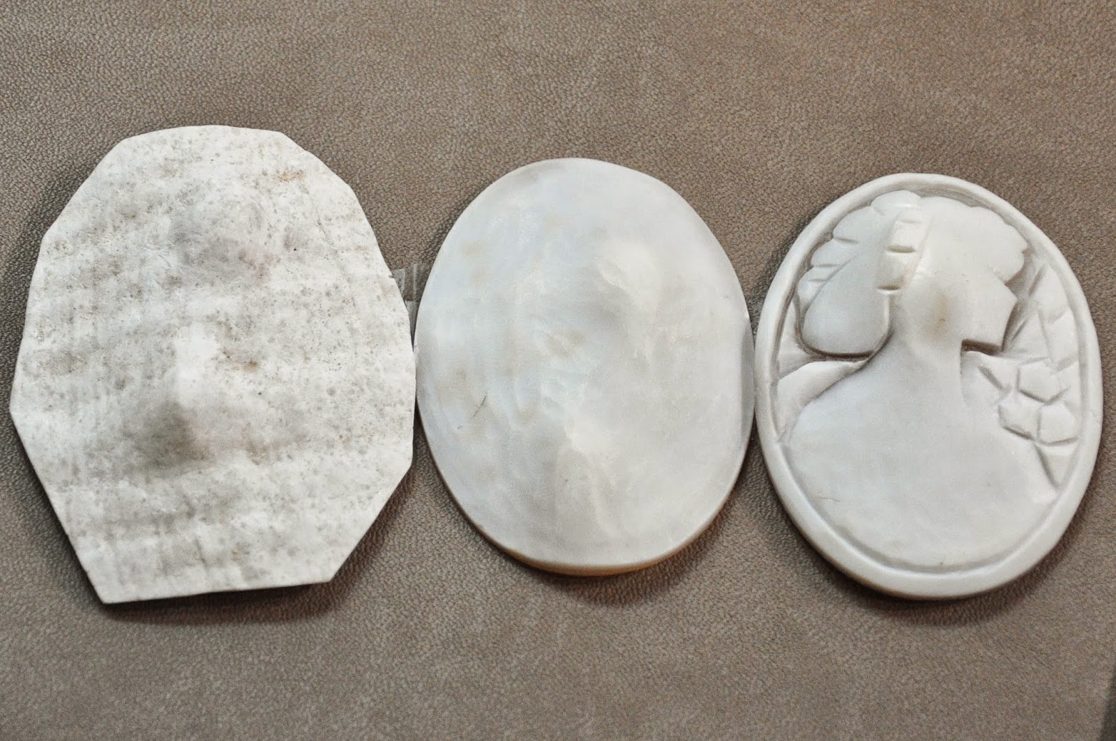 The different stages of cameo carving