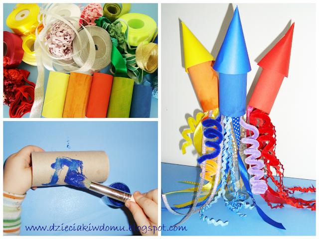 fajerwerki, petardy z rolek do papieru dla dzieci na nowy rok