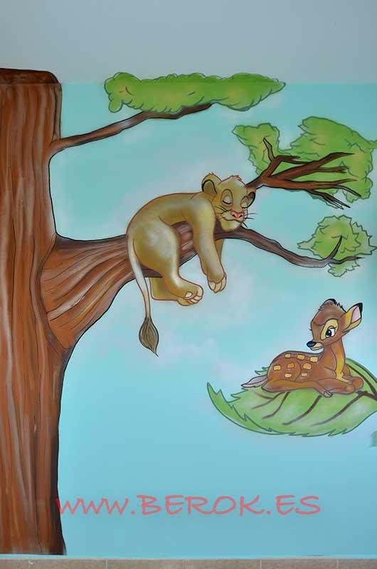 mural bambi y simba de Rey león