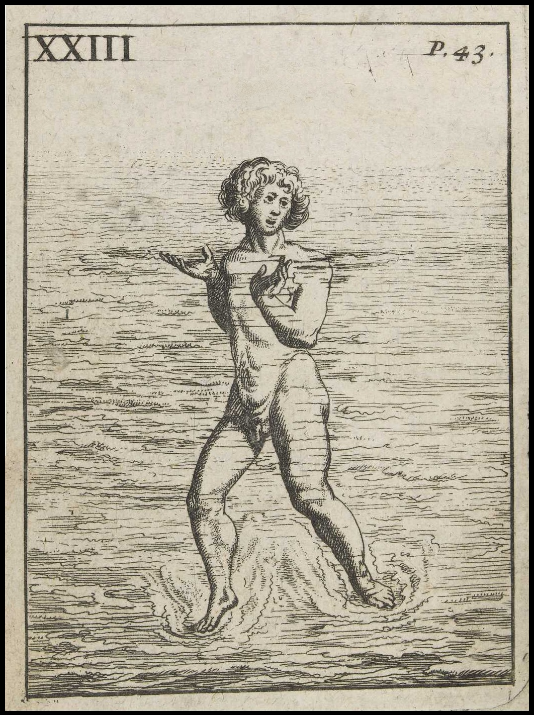 crude woodcut of swimmer treading water