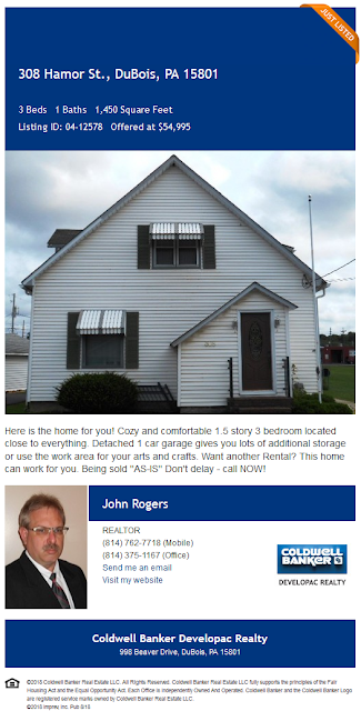 john rogers coldwell banker developac realty 308 hamor street dubois pa 15801 for sale