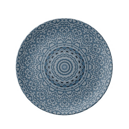 "Steel Blue Brocade 8.5"" Decorative Porcelain Plate"