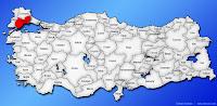 Tekirdağ ilinin Türkiye haritasında gösterimi