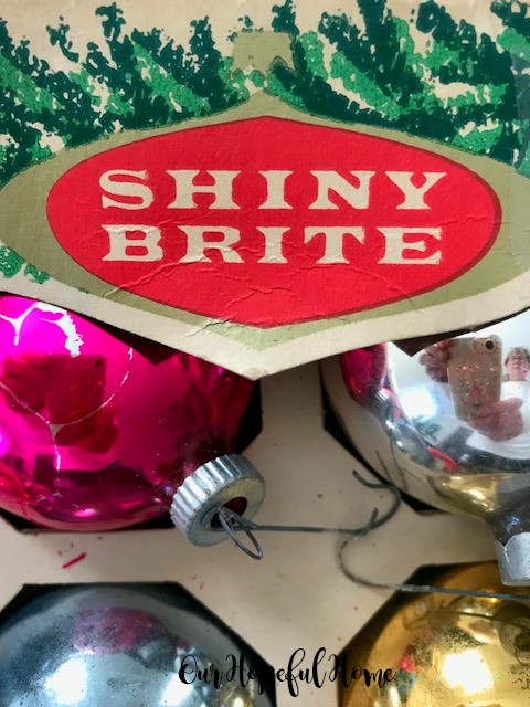 Shiny Brite ornaments retro box logo
