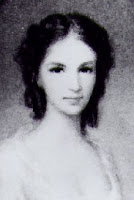 Black and white version of a portrait painting of Laura Secord