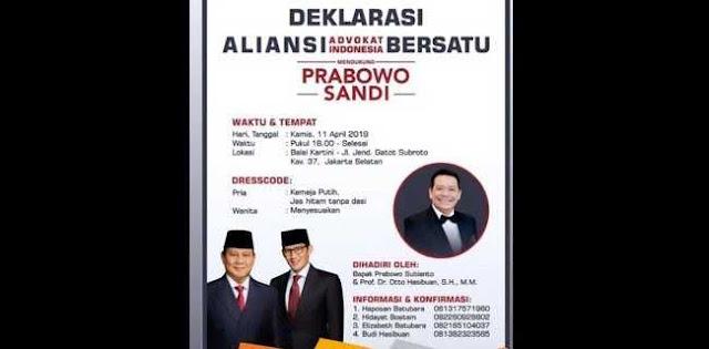 Dukungan Advokat Indonesia Bersatu ke Prabowo-Sandi, Fenomena Kebangkitan Kaum Intelektual