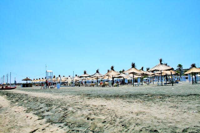 sabbia, spiaggia, lido, ombrelloni, cielo, estate