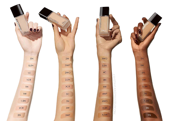 Dior Forever 24h Wear High Perfection Skin-Caring Matte Foundation Swatches All Shades