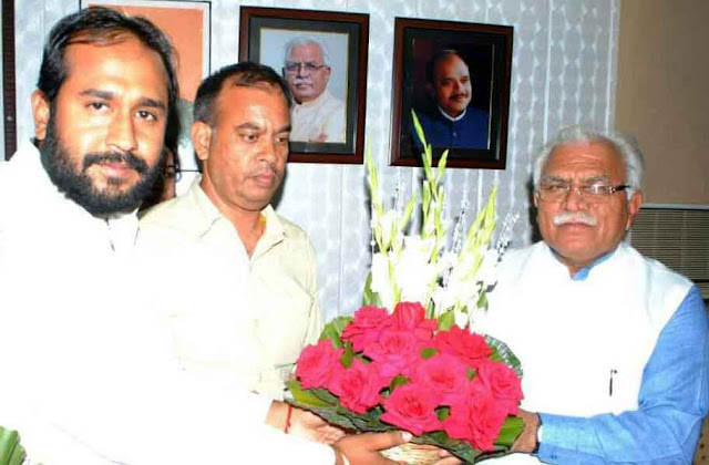bjp-leader-rahul-yadav-greet-to-cm-manohar-lal-khattar-on-his-birthday