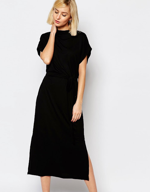 selected black high neck dress, black high neck midi dress,