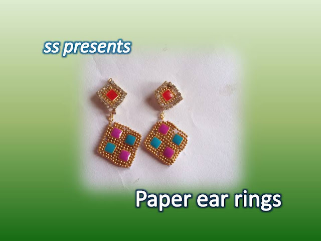 Here is paper jewellery,silk thread jewellery,beads jewellery,pearls jewellery,paper crafts,creape paper crafts,how to make paper and beads ear rings at home