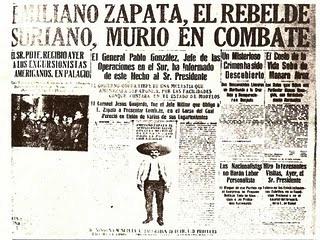 Titulares muerte Emiliano Zapata