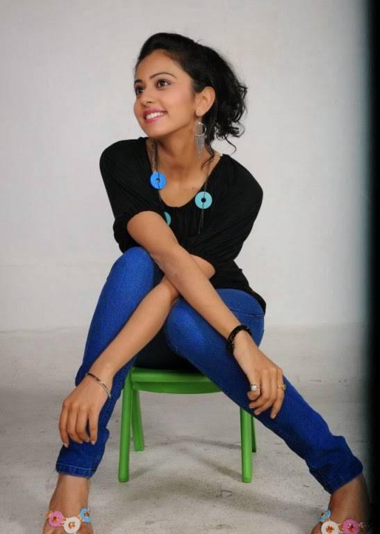 Rakul Preet Singh Stills In Black T Shirt Blue Jeans