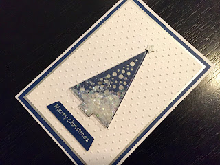 Hand made Christmas shaker card with Christmas tree shaped shaker and snow glitter