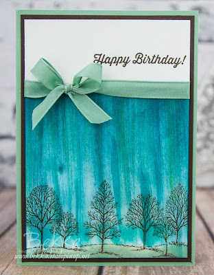 Happy Birthday Card featuring Lovely As A Tree Stamps from Stampin' Up! UK and A Fun Pulled Sky Background