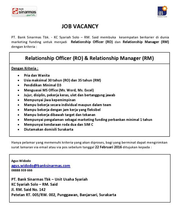 Kesempatan Berkarir di PT  Bank Sinarmas KC Syariah Solo
