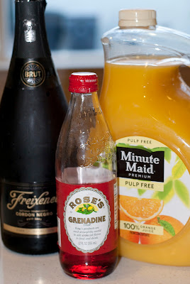 Buck's Fizz, orange juice, grenadine, champagne, new years eve cocktail, new years cocktail
