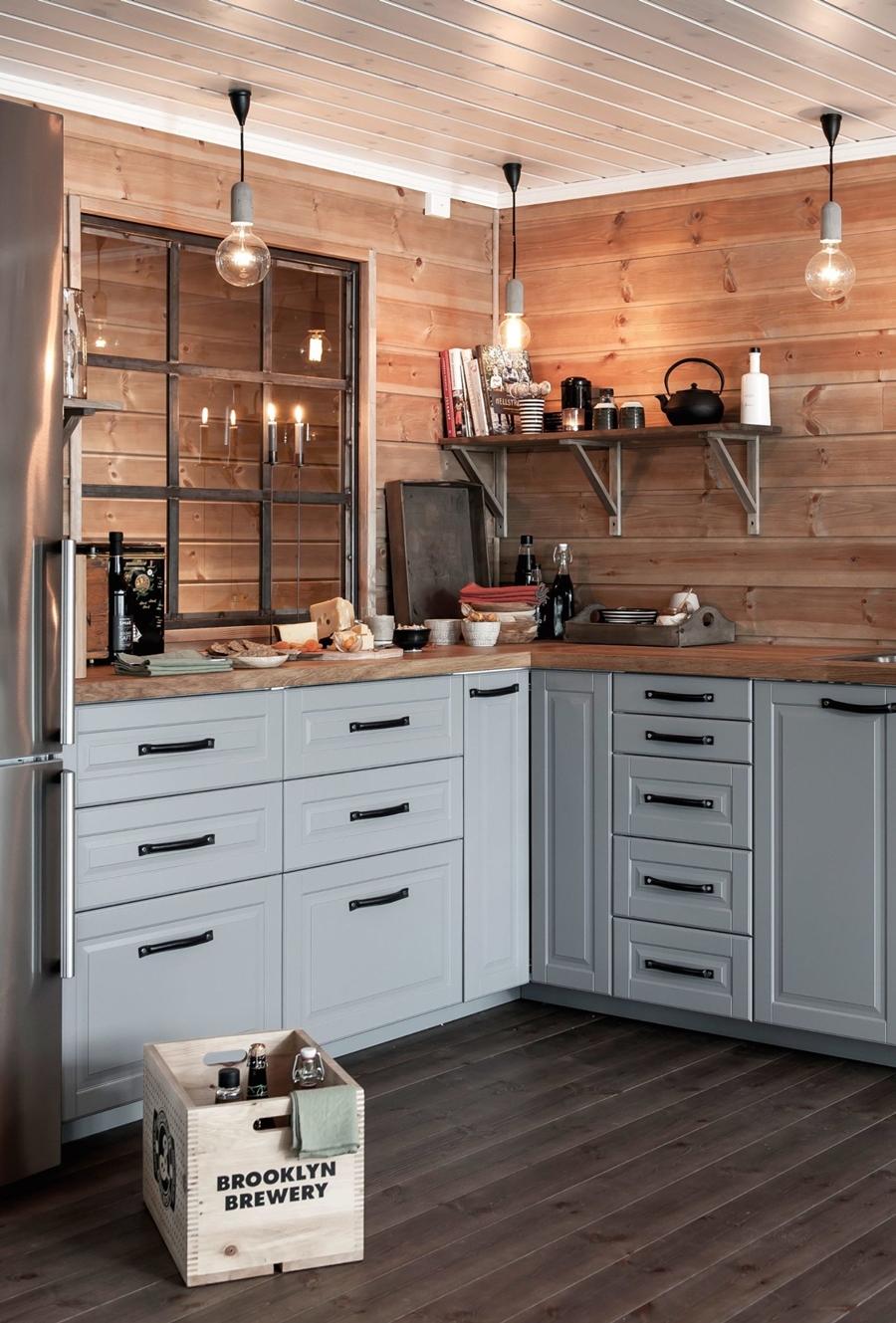 wystrój wnętrz, wnętrza, urządzanie mieszkania, dom, home decor, dekoracje, aranżacje, styl skandynawski, scandinavian style, drewniany domek, drewno, kuchnia, kitchen