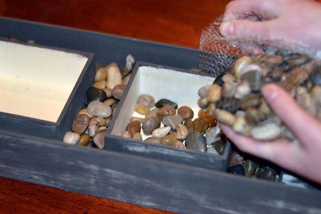unique succulent box with rocks