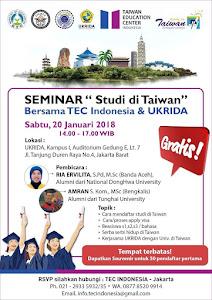"2018 Seminar ""Studi di Taiwan"" in Jakarta on Jan 20"