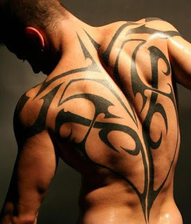 Tribal Tattoo On Men's Back