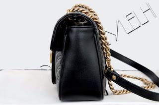 321e9a25b GUCCI Authentic New Black Leather GG Marmont matelassé Shoulder Bag  23,940,000