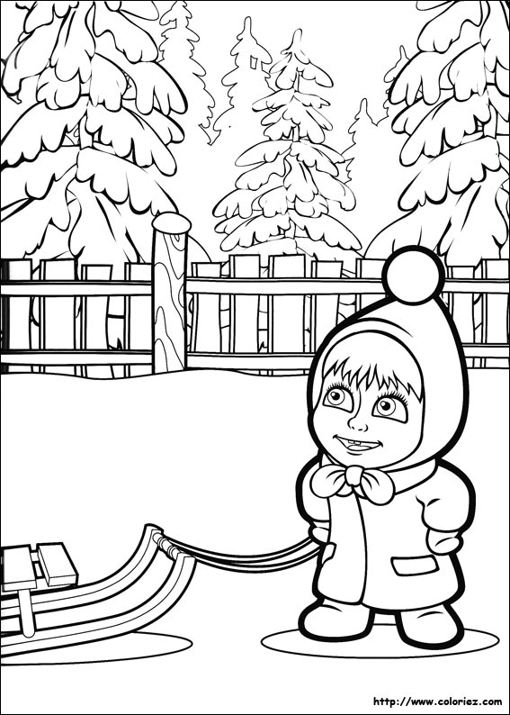 Masha And The Bear Coloring Page Coloring Draw