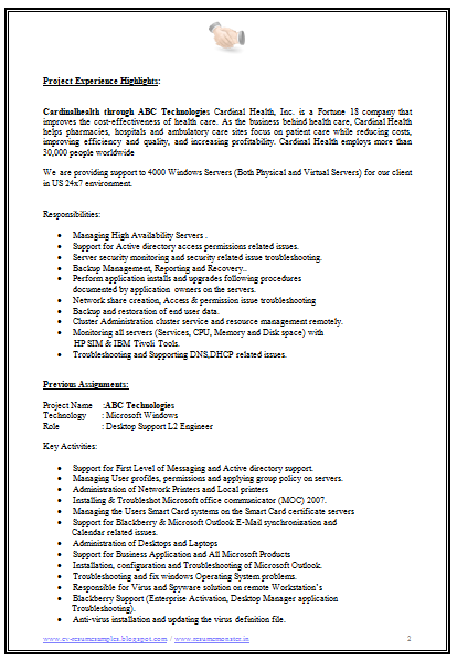 Sample Resume Experienced Software Engineer India