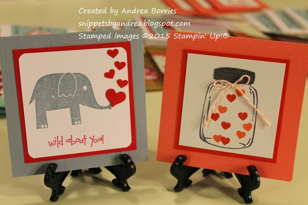 "Two valentines: one with an elephant and the saying ""Wild about you"" and the other with a jar filled with stamped hearts."