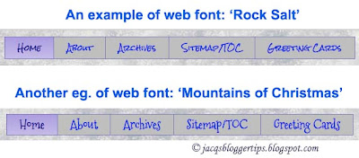 Screenshot examples of web fonts made available at Blogger Template Designer