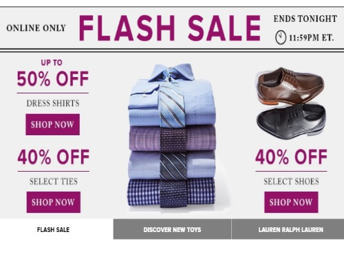 Hudson's Bay Flash Sale Up To 50% Off Men's Dress Shirts + 40% Off Ties & Shoes