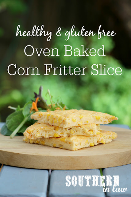 Oven Baked Corn Fritter Slice Recipe - low fat, gluten free, healthy, kid friendly, clean eating recipe, vegetarian, side dishes, lunch, dinner, nut free, high protein