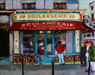 28 Boulangerie Paris, France original oil painting by artist Merrill Weber