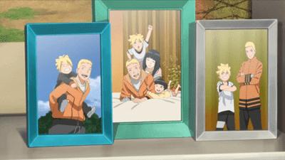En el capítulo 12 se puede ver unos cuadros con fotografía de la familia de Naruto conformada por: Hinata, Himawari y Boruto