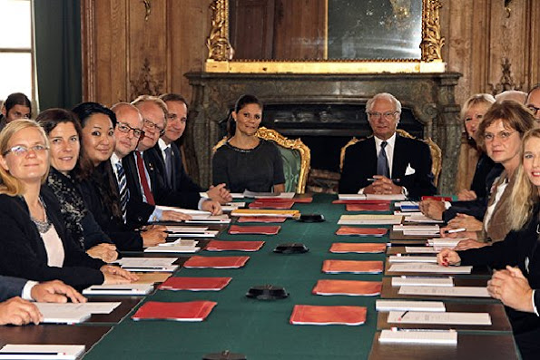 Crown Princess Victoria of Sweden attended the foreign relations committee meeting at the Royal Palace