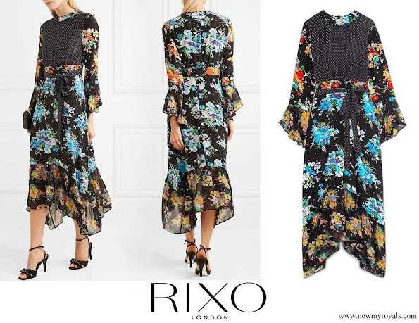 Princess Caroline wore RIXO LONDON Chrissy patchwork printed silk crepe de chine midi dress