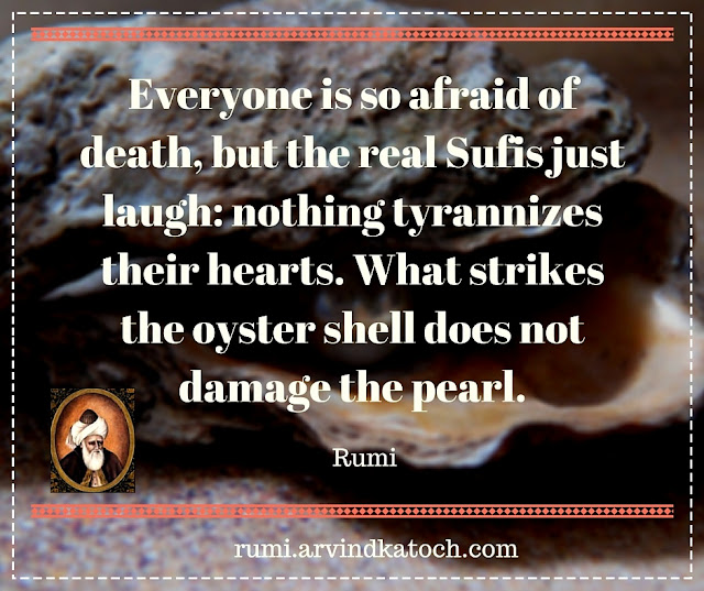 Rumi, Quote, Image, Everyone, afraid, death, real Sufis, laugh, hearts, pearl,