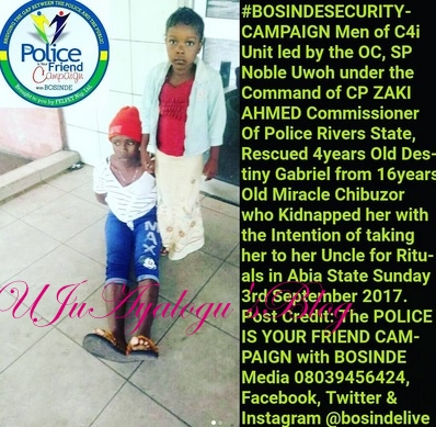Teenage kidnapper, who delivers victims to uncle caught in rivers state.