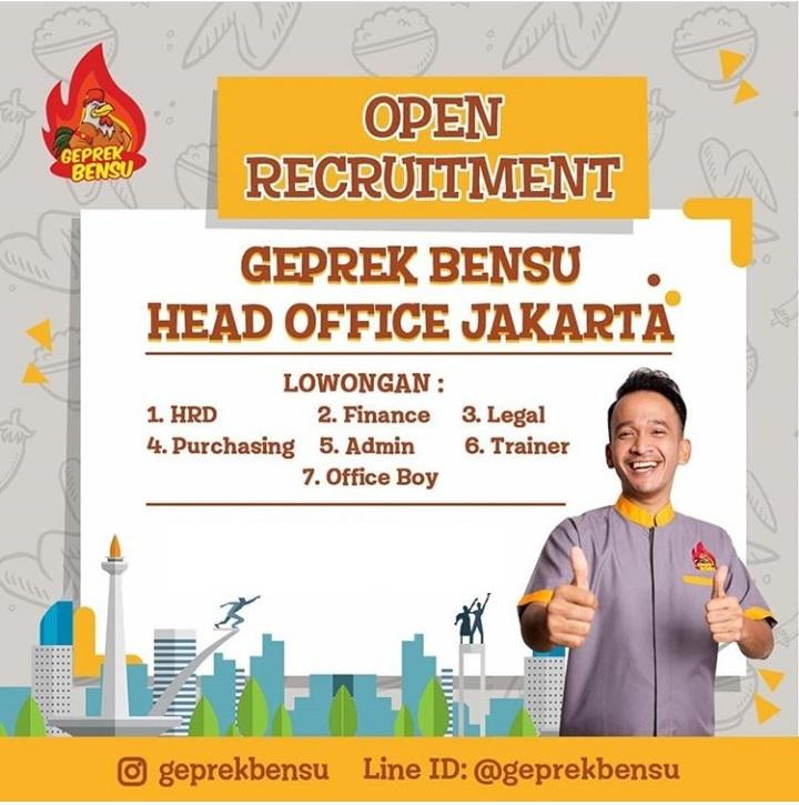 Open Recruitment Lowongan Kerja Di Geprek Bensu Head Office