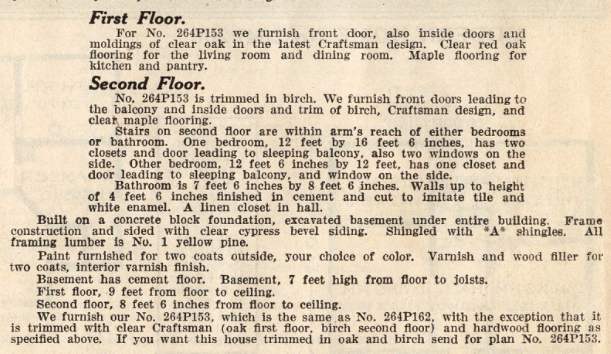 Sears Elmwood interior description from 1914 Sears Modern Homes catalog