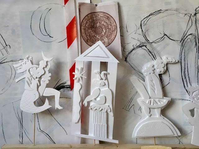 Brigitte Rio, sculpture, terre, moulage, Tarot, Justice, Force, Tempérance