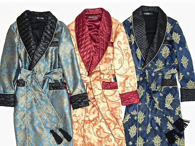 Mens silk dressing gown quilted morning robe paisley housecoat