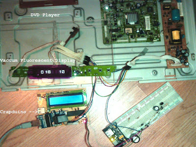 Vacuum Fluorescent Display (VFD) from a DVD Player controlled by AVR MCU