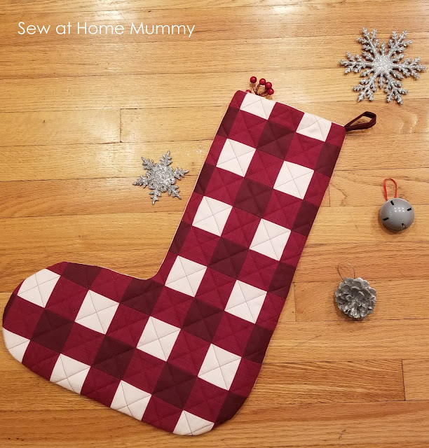 Free Fat Quarter Friendly Jumbo Buffalo Plaid Stocking Tutorial from Sew at Home Mummy.