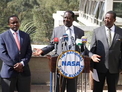 Raila Odinga, Kalonzo Musyoka, Musalia Mudavadi at Capitol hill, Nairobi. PHOTO | FILE