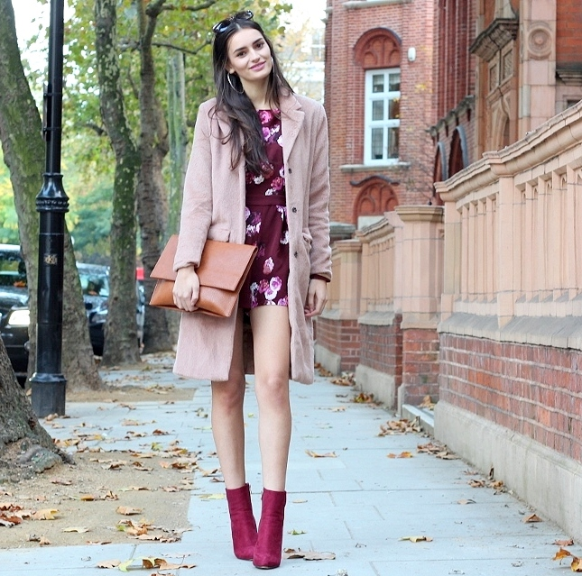 peexo fashion blogger wearing south avenue floral playsuit and pink coat