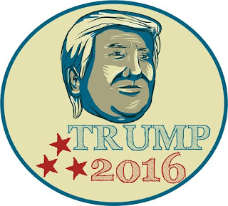 Drawing of Donald Trump 2016 campaign badge - Serge Kovaleski