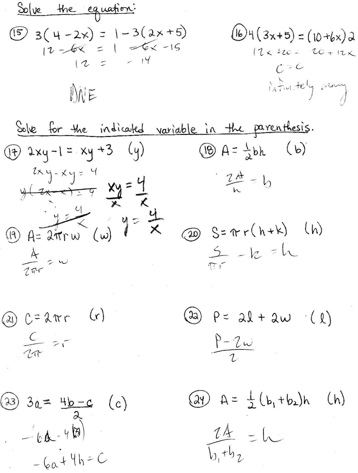 Literal Equation Worksheet - Kidz Activities
