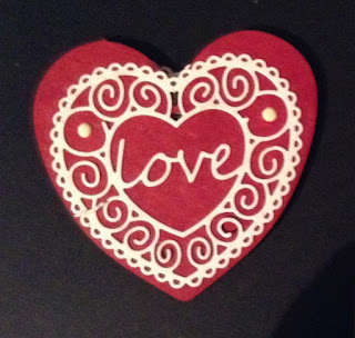 Love MDF heart in red Gift