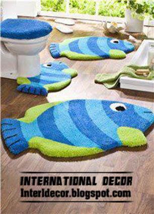 Fishes Rugs Bathroom Rug Set Blue Modern Bath Sets